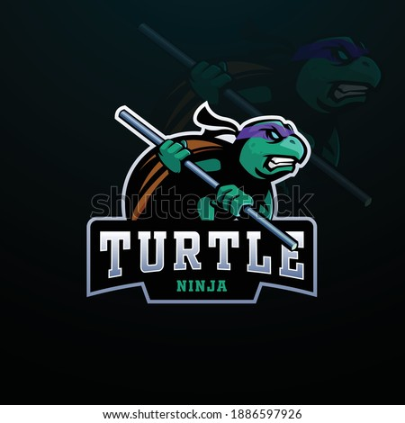 ninja turtle sports mascot logo
