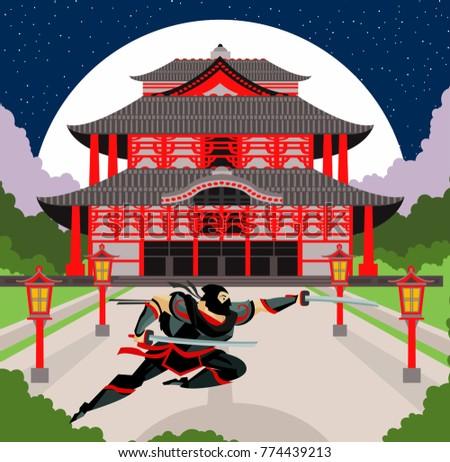 ninja warrior in asian temple