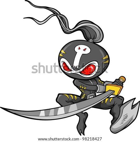 Ninja Warrior Samurai Vector Illustration art