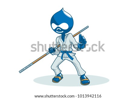 ninja with a stick vector