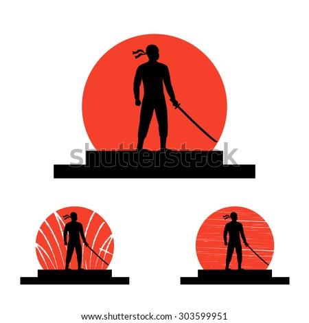 ninja with katana silhouette