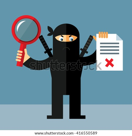 ninja with magnifier glass