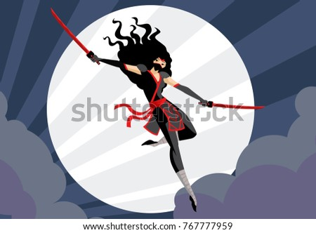 ninja woman jumping with two