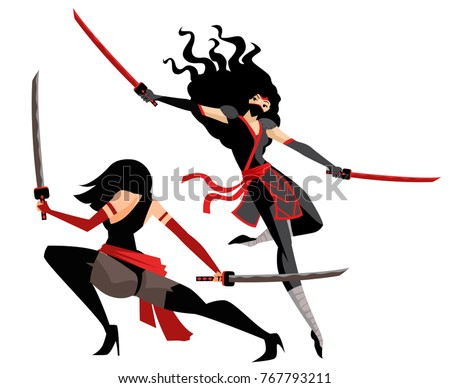 ninja women with two swords