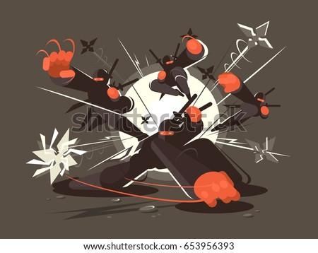 Stock Photo Ninjas wearing black masks with sword