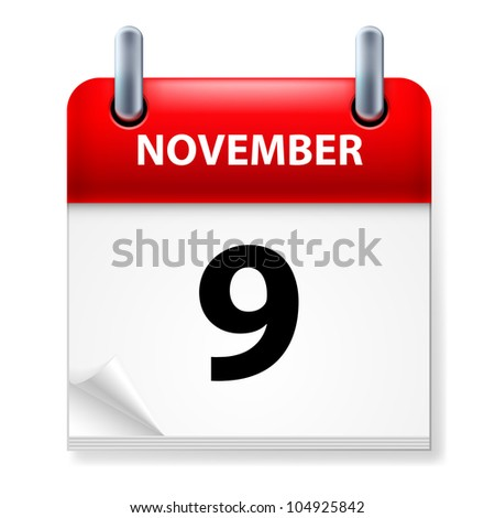 Ninth  in November Calendar icon on white background