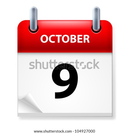 Ninth October in Calendar icon on white background