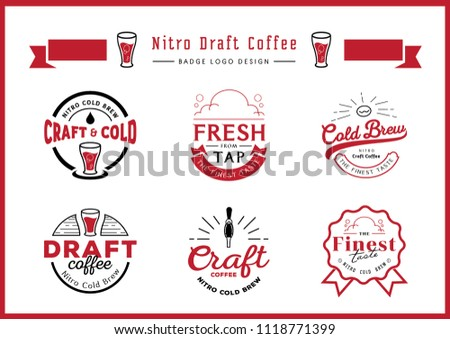 nitro draft coffee badge logo design set with craft coffee,draft coffee,