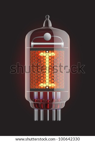 "Nixie tube indicator. Letter ""I"" from retro, Transparency guaranteed. Vector illustration."