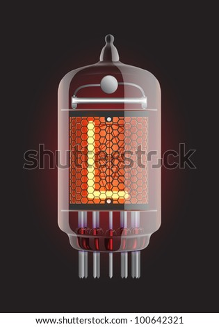 "Nixie tube indicator. Letter ""L"" from retro, Transparency guaranteed. Vector illustration."