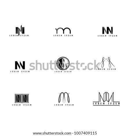 Nn Logo Vector, Design Letter with Creative Font Set.