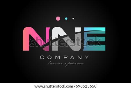 NNE n n e three 3 letter logo combination alphabet vector creative company icon design template modern  pink blue white grey Stock fotó ©