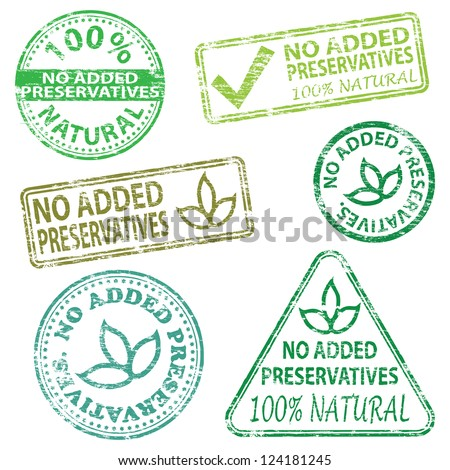 No added preservatives  Rubber stamp vector illustrations