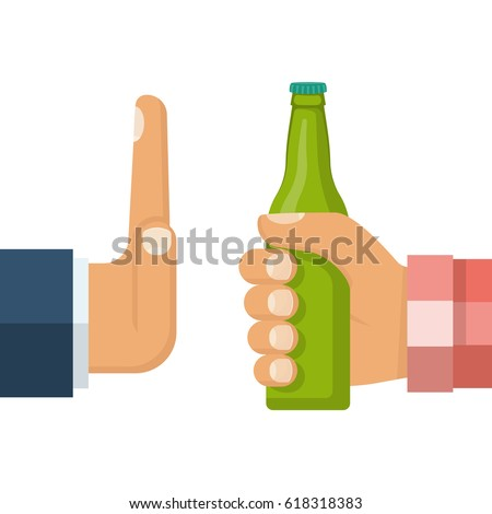 No alcohol. Man offers to drink holding a bottle of beer in hand. Stop alcohol. Hand gesture rejection. Vector illustration flat style design. Isolated on background.