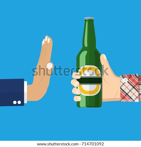 No alcohol. Man offers to drink holding a bottle of beer in hand. Stop alcohol. vector illustration in flat style