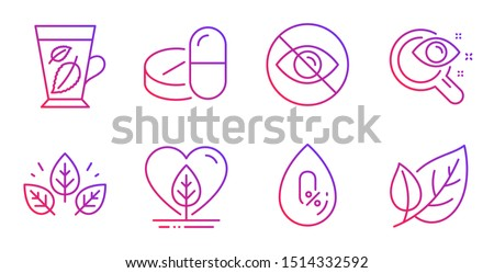 No alcohol, Organic tested and Vision test line icons set. Not looking, Mint leaves and Local grown signs. Medical drugs, Leaf symbols. Mineral oil, Bio ingredients. Healthcare set. Vector