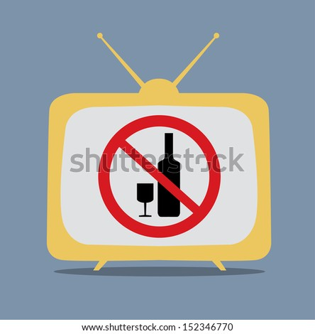 No alcohol sign on tv vector