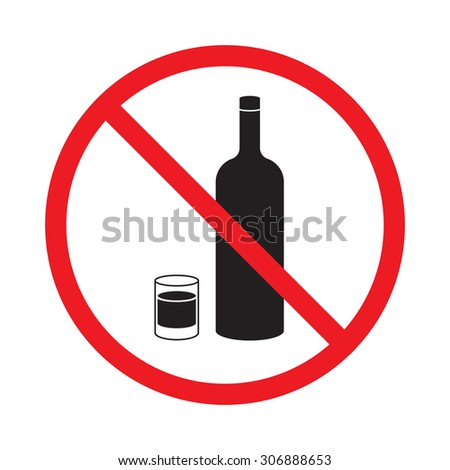 no alcohol sign on white