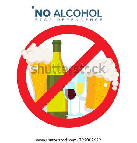 No Alcohol Sign Vector. Strike Through Red Circle. Prohibiting Alcohol Beverages. Beer Beverage Stop Sign. Bad Stamp.  Isolated Flat Cartoon Illustration   Stock photo ©