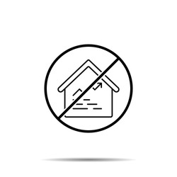 No amount, house, analytics icon. Simple thin line, outline vector of real estate ban, prohibition, embargo, interdict, forbiddance icons for ui and ux, website or mobile