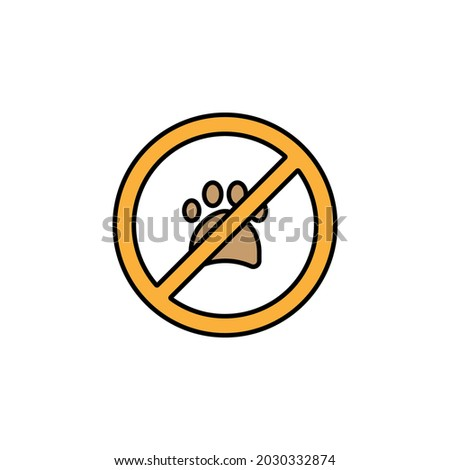 no animals, no pets, paw print, not allowed, prohibition line colored icon. Signs, symbols can be used for web, logo, mobile app, UI, UX Foto stock ©