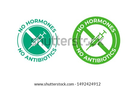 No antibiotics food label stamp, hormones free farm grown chicken and beef or pork meat vector logo. Natural healthy antibiotics free products certificate seal