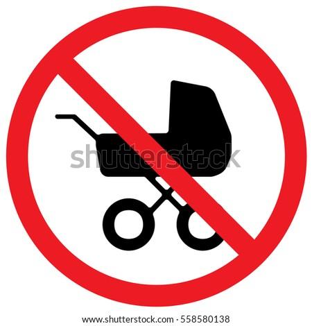 No Baby Carriage Sign. Vector.