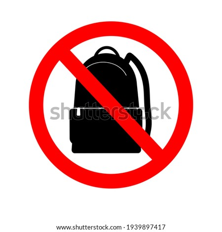 No backpacks allowed. It is forbidden to enter with backpacks. A warning sign. Sticker, poster. Vector illustration Foto stock ©