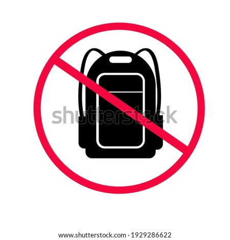 No backpacks allowed. Not Allowed Sign, Accident Prevention signs, warning symbol. vector flat illustration. Foto stock ©