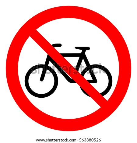 No bicycle. Bicycle prohibition sign, vector illustration.