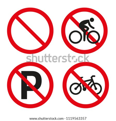 no bicycle sign on white