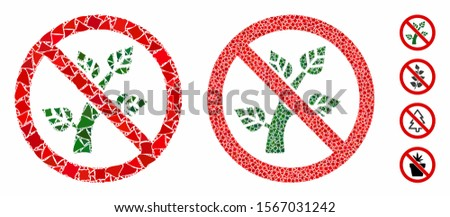 No botany composition of rugged pieces in various sizes and color tints, based on no botany icon. Vector abrupt elements are organized into composition. No botany icons collage with dotted pattern.