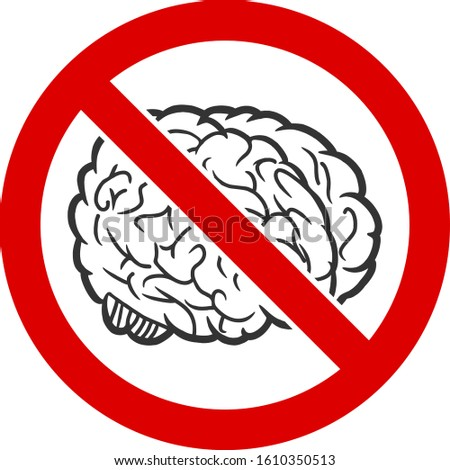 no brain vector icon flat no