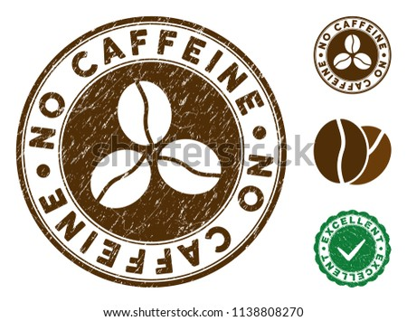 no caffeine brown stamp vector