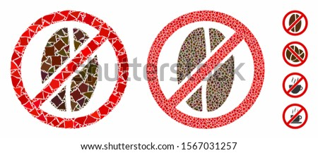 No caffeine composition of rugged items in variable sizes and color tones, based on no caffeine icon. Vector uneven items are combined into composition. No caffeine icons collage with dotted pattern.