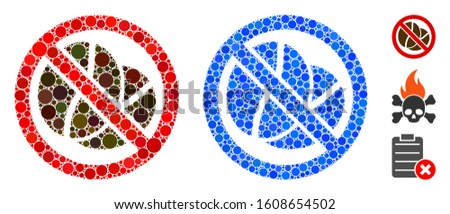 No caffeine mosaic of round dots in various sizes and color hues, based on no caffeine icon. Vector dots are organized into blue mosaic. Dotted no caffeine icon in usual and blue versions.
