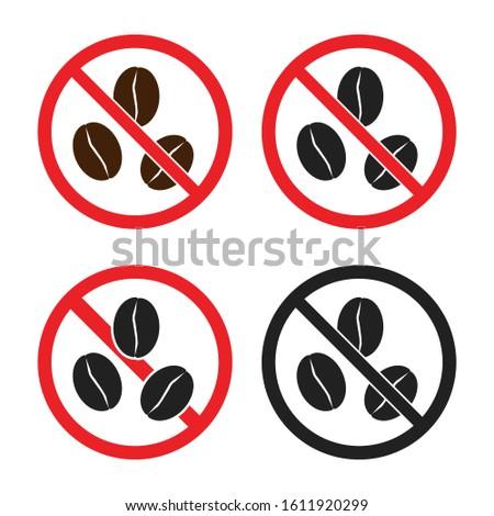 No caffeine signs, caffeine free icons set