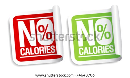 No calories, diet food stickers set. - stock vector