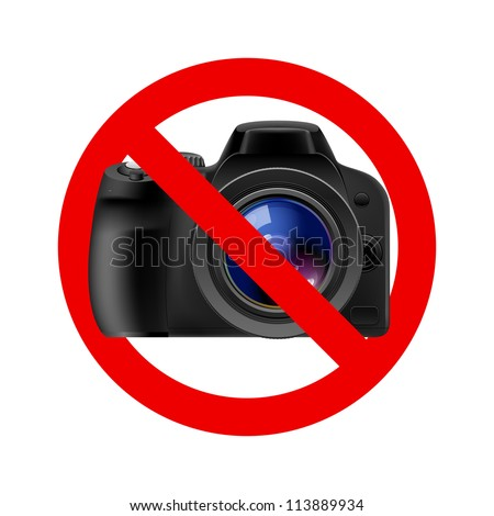 No camera allowed sign.  Illustration on white background
