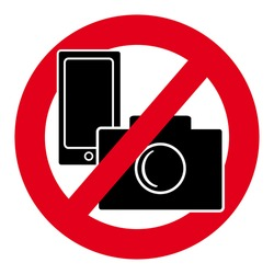 No camera and mobile phone symbol on white background. Vector illustration.