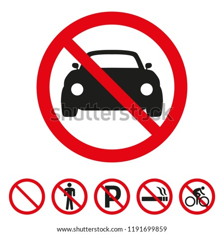 No cars sign on white background. Vector illustration