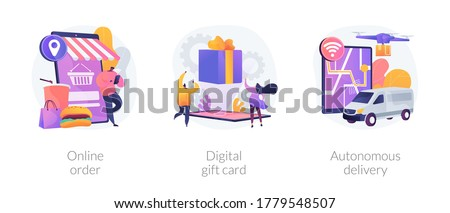 No-contact order and delivery abstract concept vector illustration set. Online order, digital gift card, autonomous delivery, buying goods on internet, certificate online, drone use abstract metaphor.