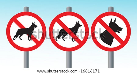 No dogs allowed vector signposts