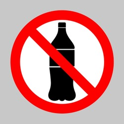 No Drink bottle sign. Forbidden sign isolated on gray background.