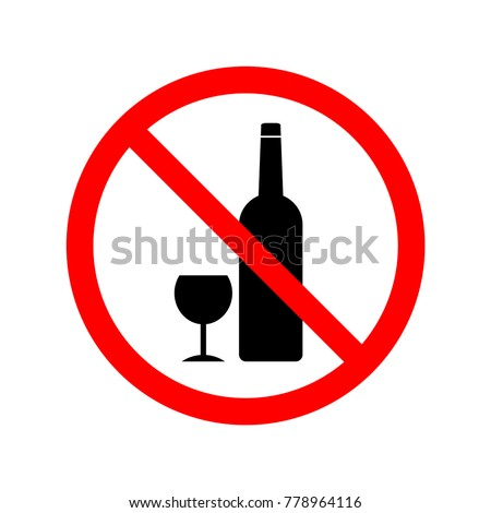 No drinking sign. Symbol, vector, illustration