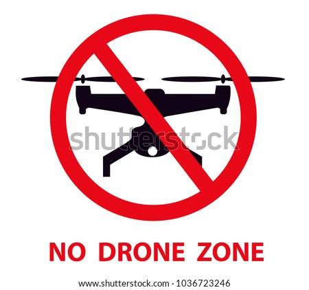 No drone zone sign. No drones icon vector. Flights with drone prohibited.