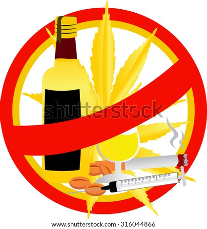 no drugs gold sign