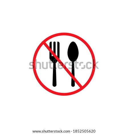No eating icon in flat style. Starvation symbol isolated on white background. Simple no eating sign. No food icon in black and red. Vector illustration for graphic design, Web, UI, app Stock photo ©