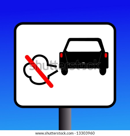 No engine Idling sign with exhaust fumes