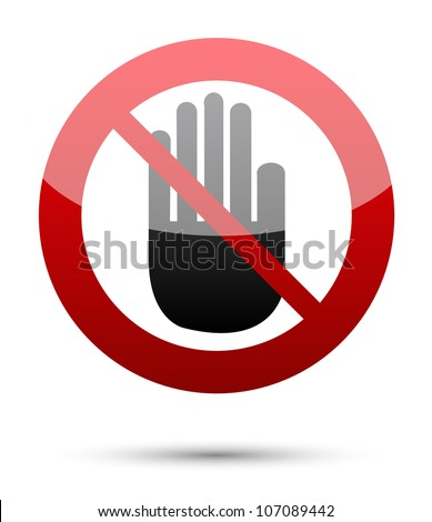 No entry hand sign on white background
